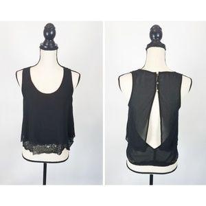 Double Zero Ladies Black Backless Blouse